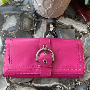 Authentic leather magenta Coach wallet